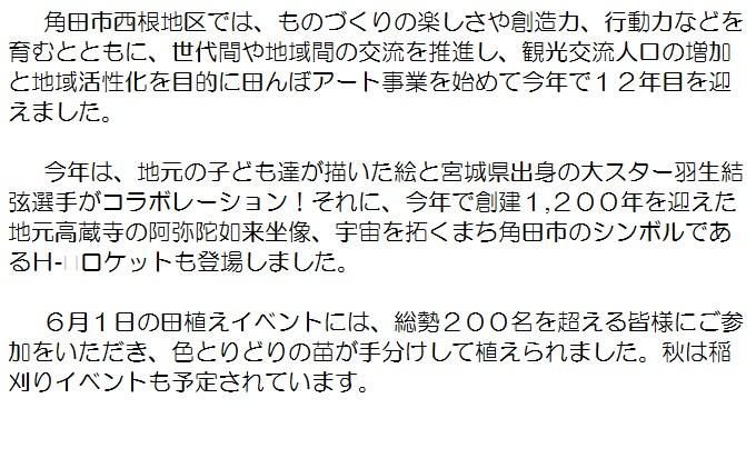 宮城県角田市のふるさと納税 西根田んぼアート米 令和元年産 つや姫5kg ドライフラワー付き