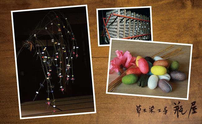繭玉の正月飾り