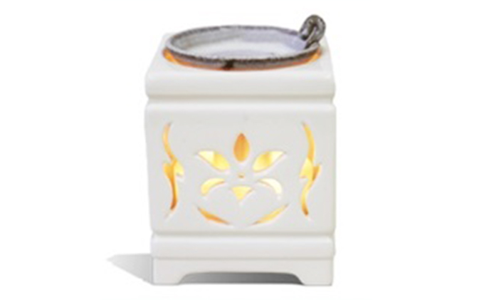 新潟県佐渡市のふるさと納税 多機能電子茶香炉【佐渡透かし彫り磁器】