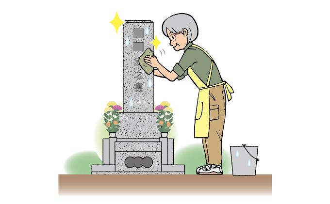 墓地清掃(掃除と花立て)